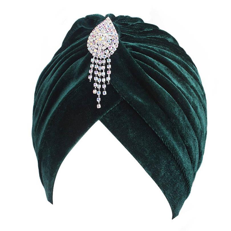 Haimeikang Großhandel niedrigen preis hohe qualität luxus frauen dicke baumwolle Damen Turban mit silber diamante anhänger moslemisches hijab