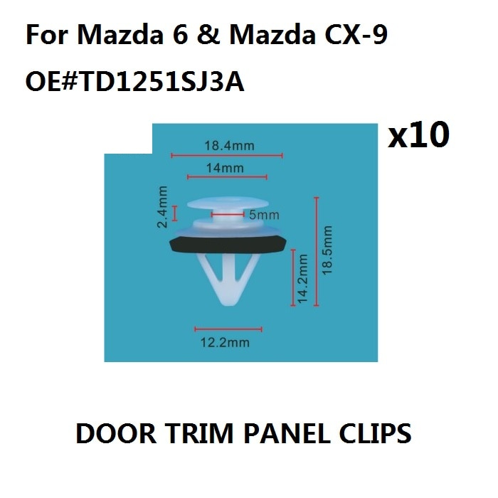 Falda lateral x10, cubierta de alféizar y Clips de moldura de puerta para Mazda 6 y para Mazda CX-9 New-TD1251SJ3A