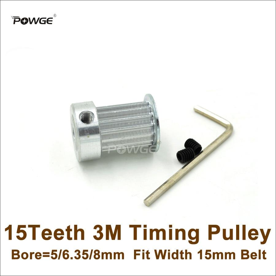 POWGE 15 Teeth 3M Timing Pulley Bore 5/6.35/8mm Fit Width 15mm HTD 3M Belt 15T 15Teeth HTD3M Pulley CNC Engraving Machine