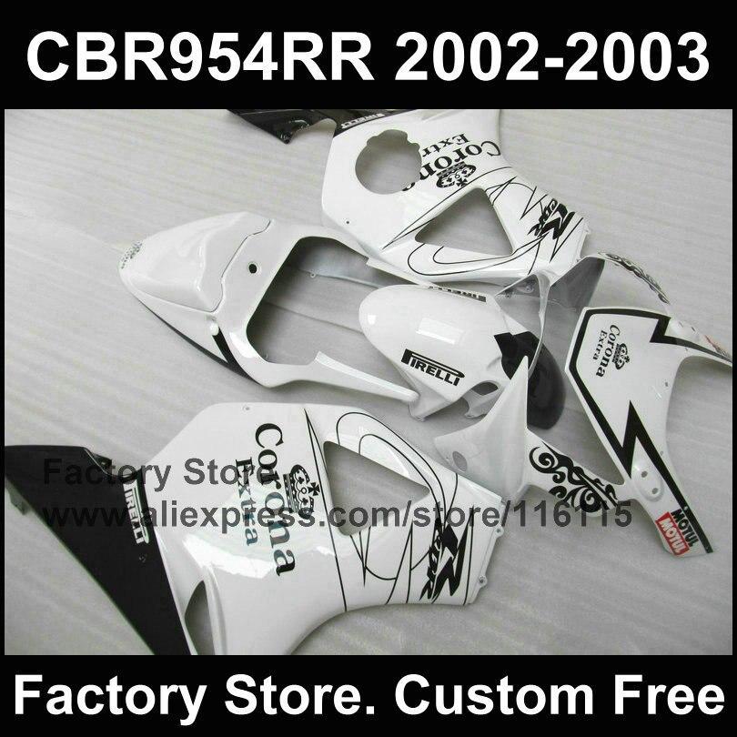 ¡Nuevo! Carenado blanco conjunto para CBR 900RR 2002 2003 fireblade de moldeo por compresión de piezas de carenado CBR 954 RR CBR 900RR 02 03
