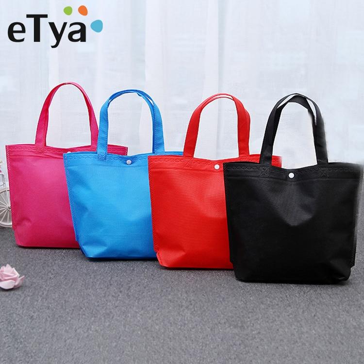 eTya New Foldable Shopping Bag Reusable Tote Pouch Women Travel Storage Handbag Fashion Shoulder Bag Female Canvas Shopping Bags