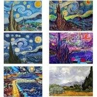 Peinture diamant theme Van Gogh  broderie 5D complete  mosaique carree  a faire soi-meme  pour decoration de maison