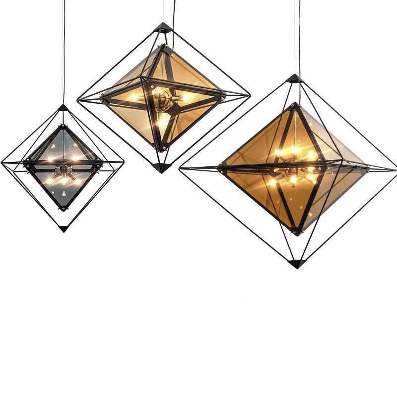 Nordic Diamond Glass LED Pendant lamp Smoke Grey Suspension Light Hanging Lamp for Living Room Bedroom Pendant Lighting G749