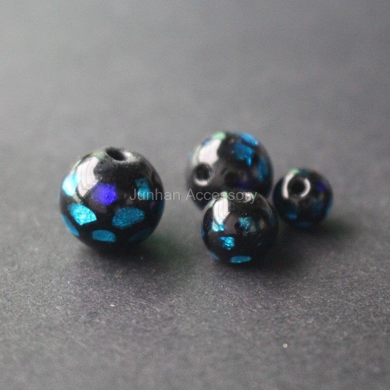 8mm 10mm 12mm 14mm grânulos feitos à mão do lampwork do estilo japonês grânulos da folha preto com folha azul para fazer a jóia