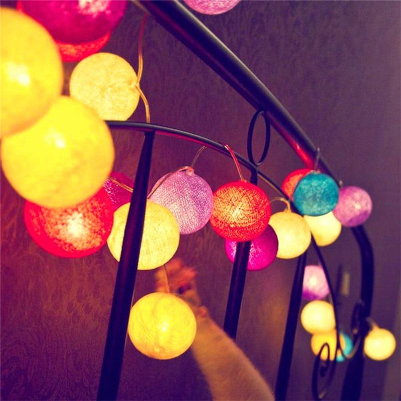 3M 20Pcs Mixed-color Cotton Ball String Light Fairy Light for Kids Room Decor Luminaria Wedding Party Christmas Garland Lighting