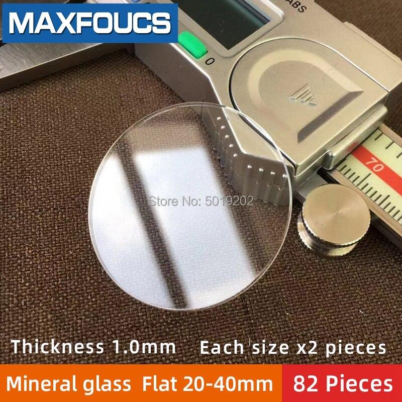 Tabela de Vidro Total de 82 Mineral Espessura Plana Diâmetro 20 mm 40 40mm Cristal Transparente Cada Tamanho x 2 um pi 1.0mm