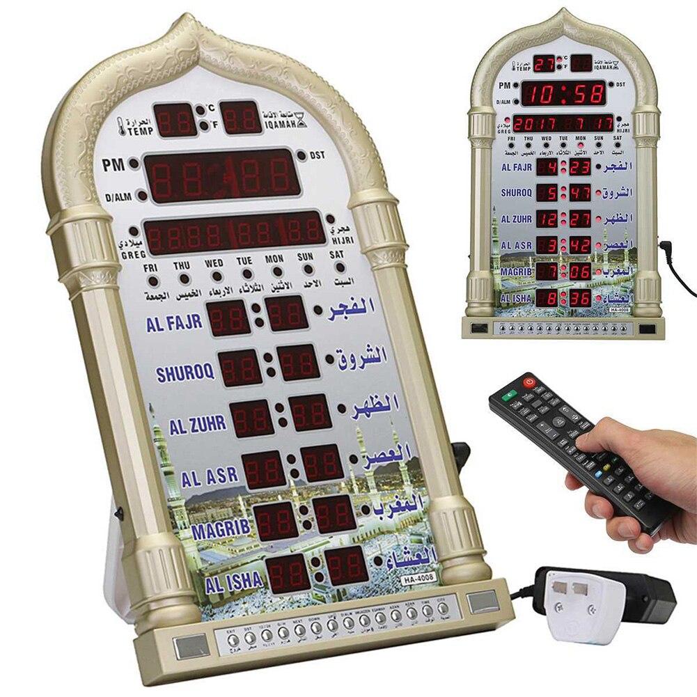 Regalo Digital para decoración del hogar, reloj Azan, mezquita, oración musulmana Ramadán, música islámica, tiempo de reproducción, recordatorio, calendario, mesa de pared Led