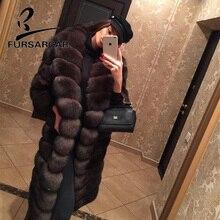 FURSARCAR-manteau de fourrure de renard naturel, nouveau Long manteau de fourrure de renard naturelle, col rabattu, 2020 CM, manteaux dhiver pour femme, 100 CM