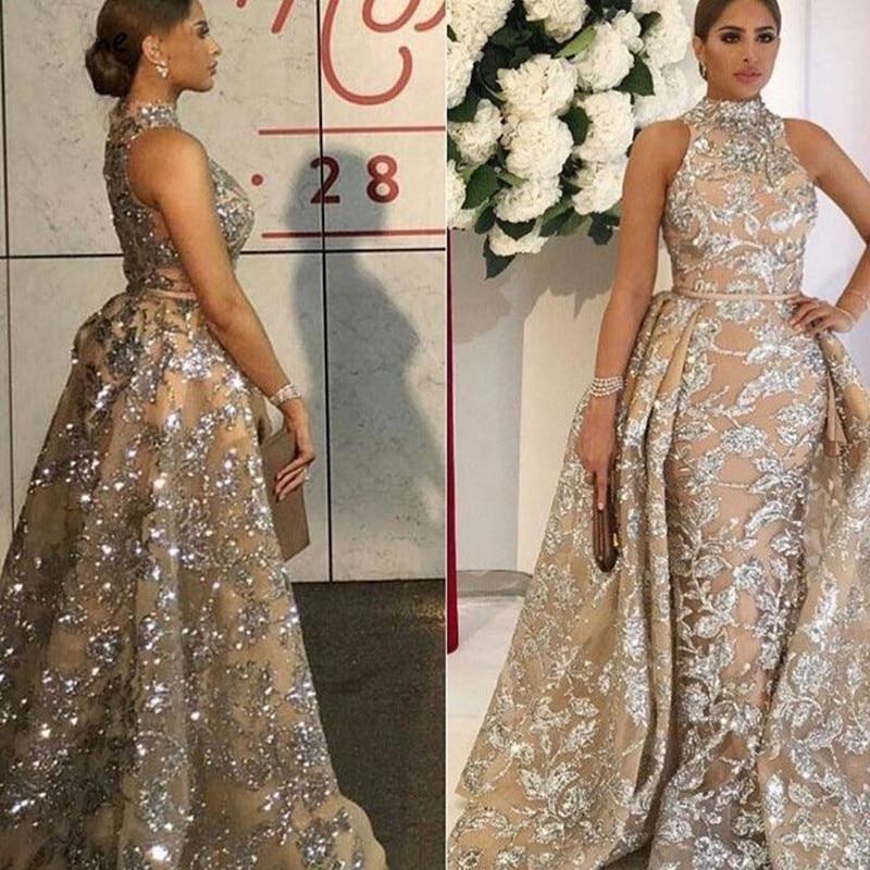 Brilho glitter lantejoulas vestidos de noite longo 2020 sereia sem mangas ith destacável trem árabe formal baile vestido robe de soiree