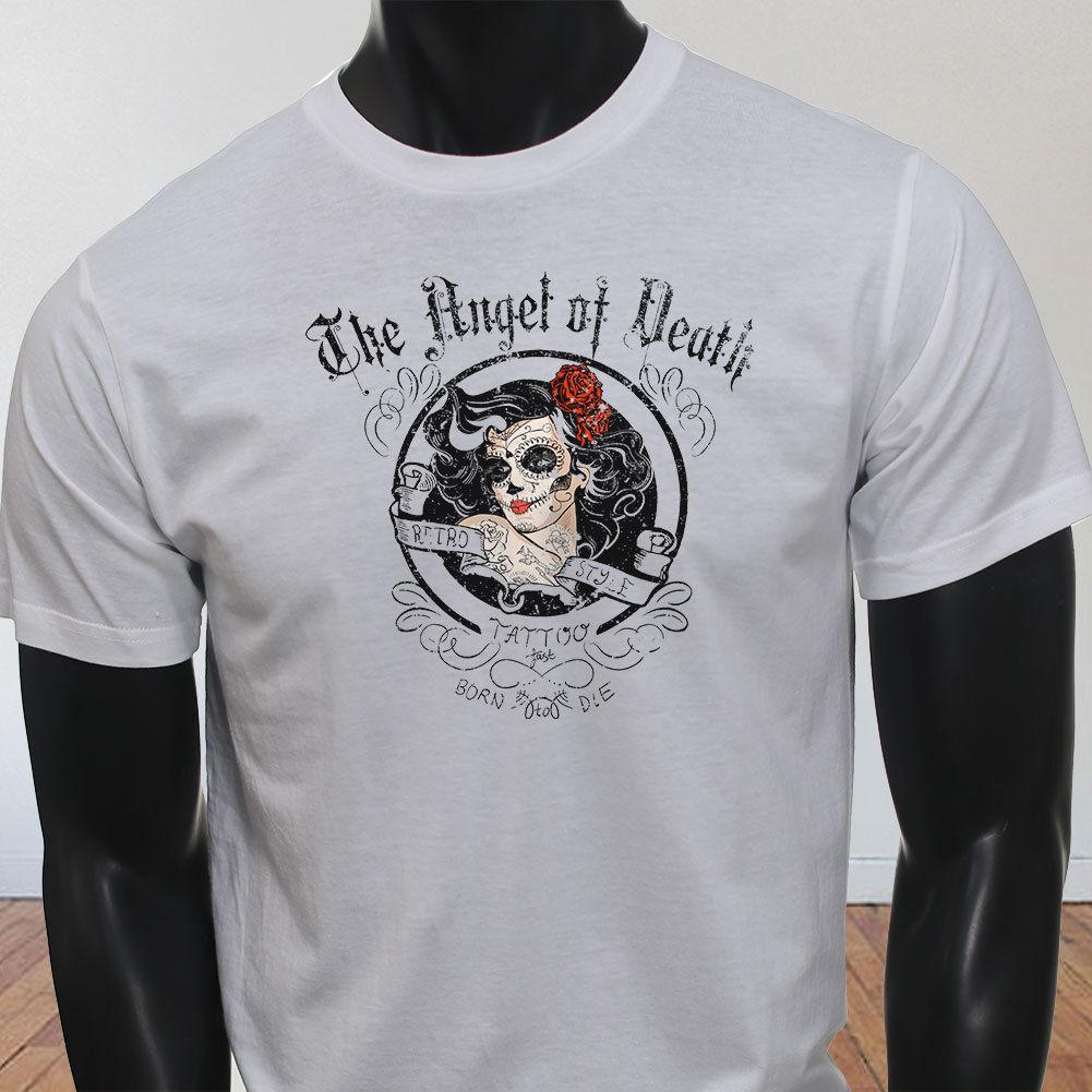 Nueva camiseta blanca de verano de algodón de alta elasticidad con tatuaje RETRO de ANGEL DEATH LA BORN TO DIE BIKER para hombre