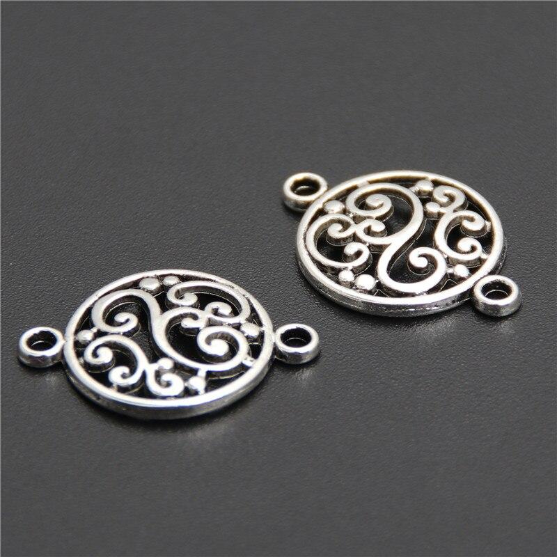 50 pçs cor prata filigrana flor redonda conector pingente apto pulseira colar de jóias encontrando a2617