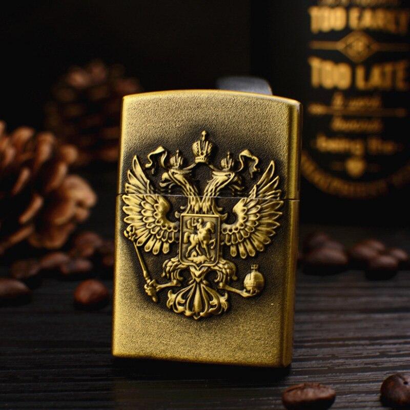 Retro Double Eagle Bronze Lighters Metal Russia Emblem Wheel Gas Cigarette lighter Inflatable Butane Fire Smoker Best Gift