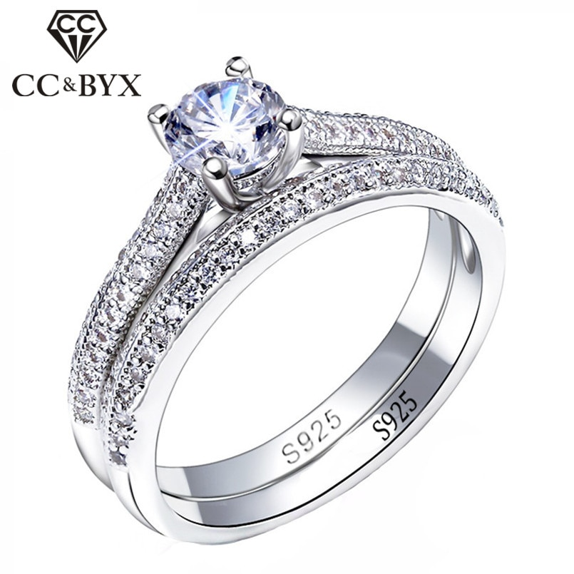 CC 925 Silver Rings For Women Simple Design Double Stackable Fashion Jewelry Bridal Sets Wedding Eng