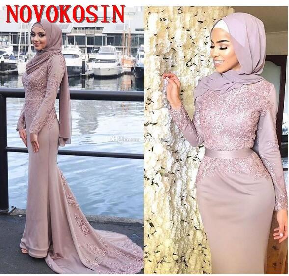 2019 Vestidos De noche musulmanes con mangas largas Apliques De encaje árabe...