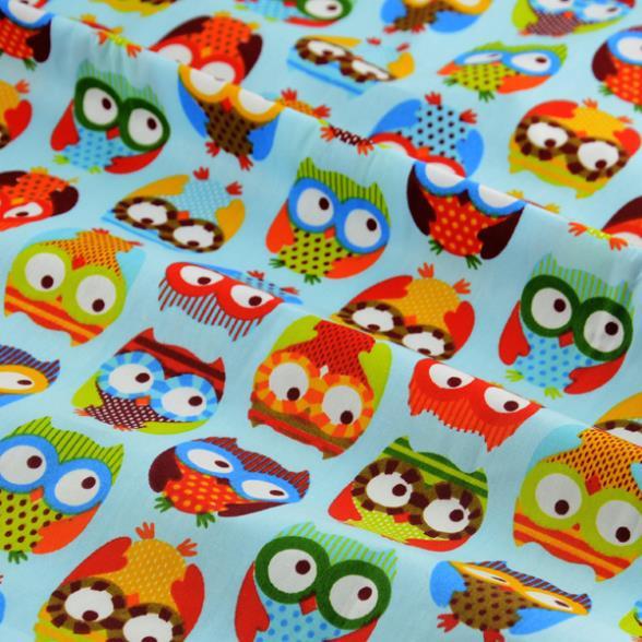 Booksew, 1 metro, lindo búho estampado azul, tela de algodón, Sábana de cama para niños, costura, tapicería textil para hogar de retazos de 155cm * 100cm
