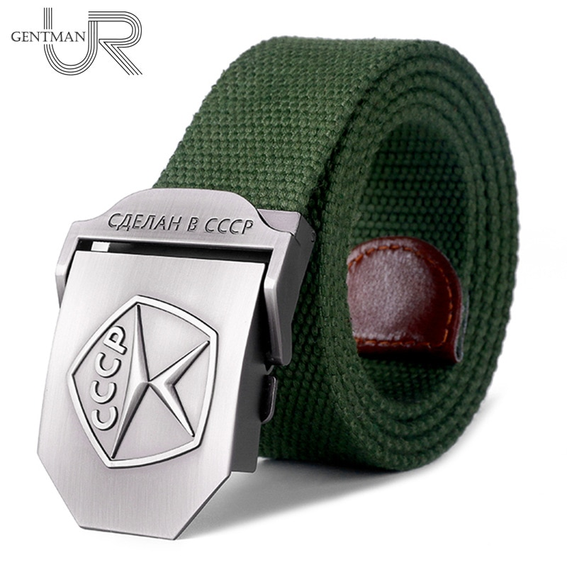 New Men & Women High Quality Belt 3D Soviet Quality Mark Canvas Military Belt Soviet Memory CCCP Luxury Jeans Tactical Belt