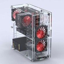 2018 nouveaux ordinateurs de bureau acrylique tout Transparent Vertical Micro/ATX boîtiers dordinateur tours plexiglas USB3.0/Audio assemblage pratique