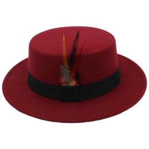 Kid Child Children Retro Pure Wool Fedora Pork pie Pork-pie Hat Black Ribbon Feather Band Bowler Round Top Cap (54cm,Adjust Rope