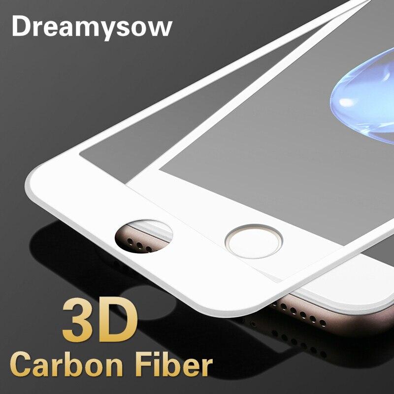 Filme protetor de tela para iphone 8 7, filme de vidro temperado 3d fibra de carbono, preto e branco para iphone x xr 6 s plus 11pro xs max