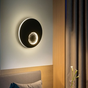 Thrisdar Dia23CM Creative Personality Moon LED Wall Light Living Room Bedroom Stairs Aisle Hotel Cafe Background LED Wall Light