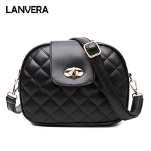 LANVERA brand women solid plaid totes lock hasp lock circular handbag hotsale lady party purse messenger crossbody shoulder bags