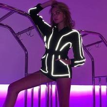 2019 Autumn Reflective Stripes Playsuit Women Black Long Sleeve Playsuit Front Zipper with Belt Female Short Jumpsuit Streetwear