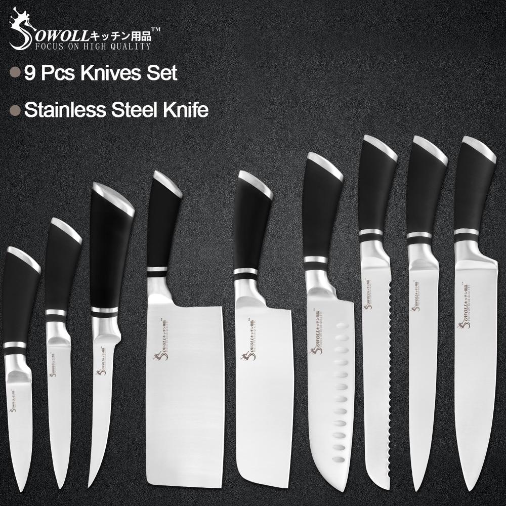 Sowoll 9 قطعة الفولاذ المقاوم للصدأ السكاكين مجموعة عدم الانزلاق مقبض الشيف تقطيع قطعة العاج الساطور سكاكين المطبخ أدوات الطبخ المنزلية