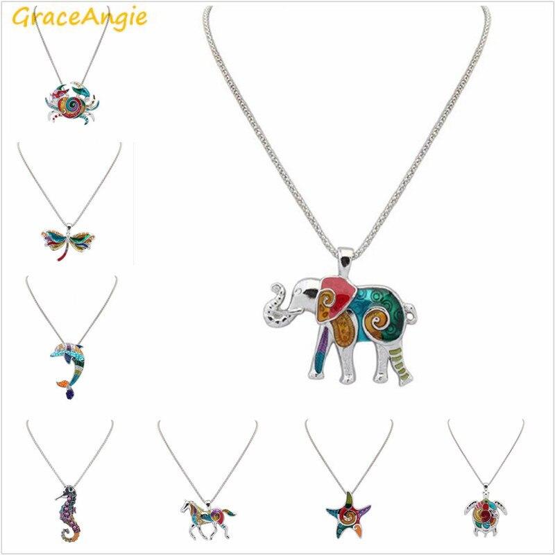 1PC colorido esmalte lindo colgante de animal caballito de mar delfín colgante collar de cadena de serpiente de moda de las mujeres suéter Cadena de joyería