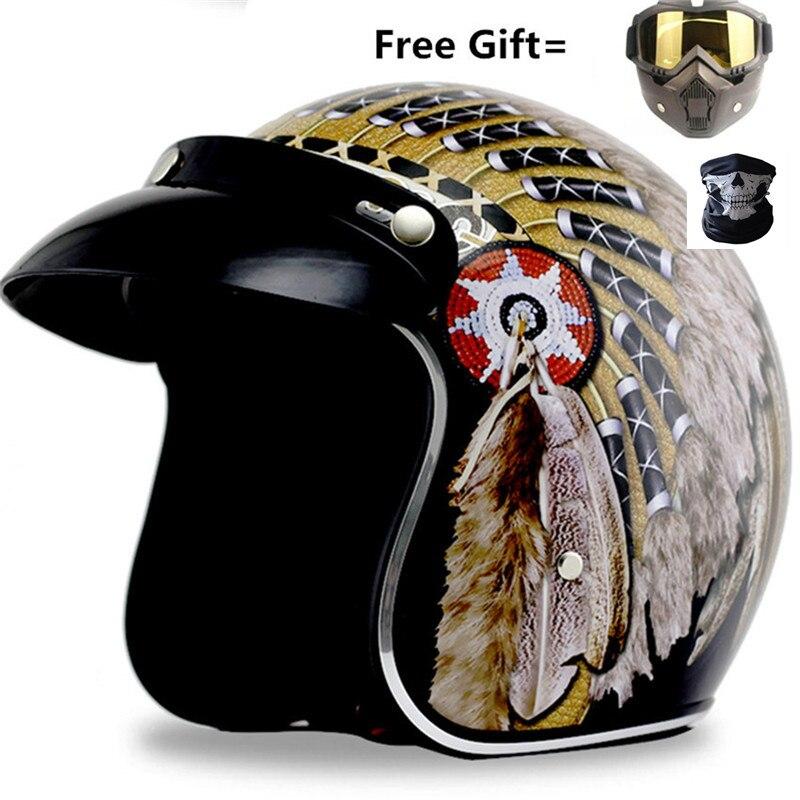 2019 novo capacete de moto impressão indiana casco capacete moto rcycle capacete 3/4 aberto rosto do vintage moto cruz capacetes s xxl xxl