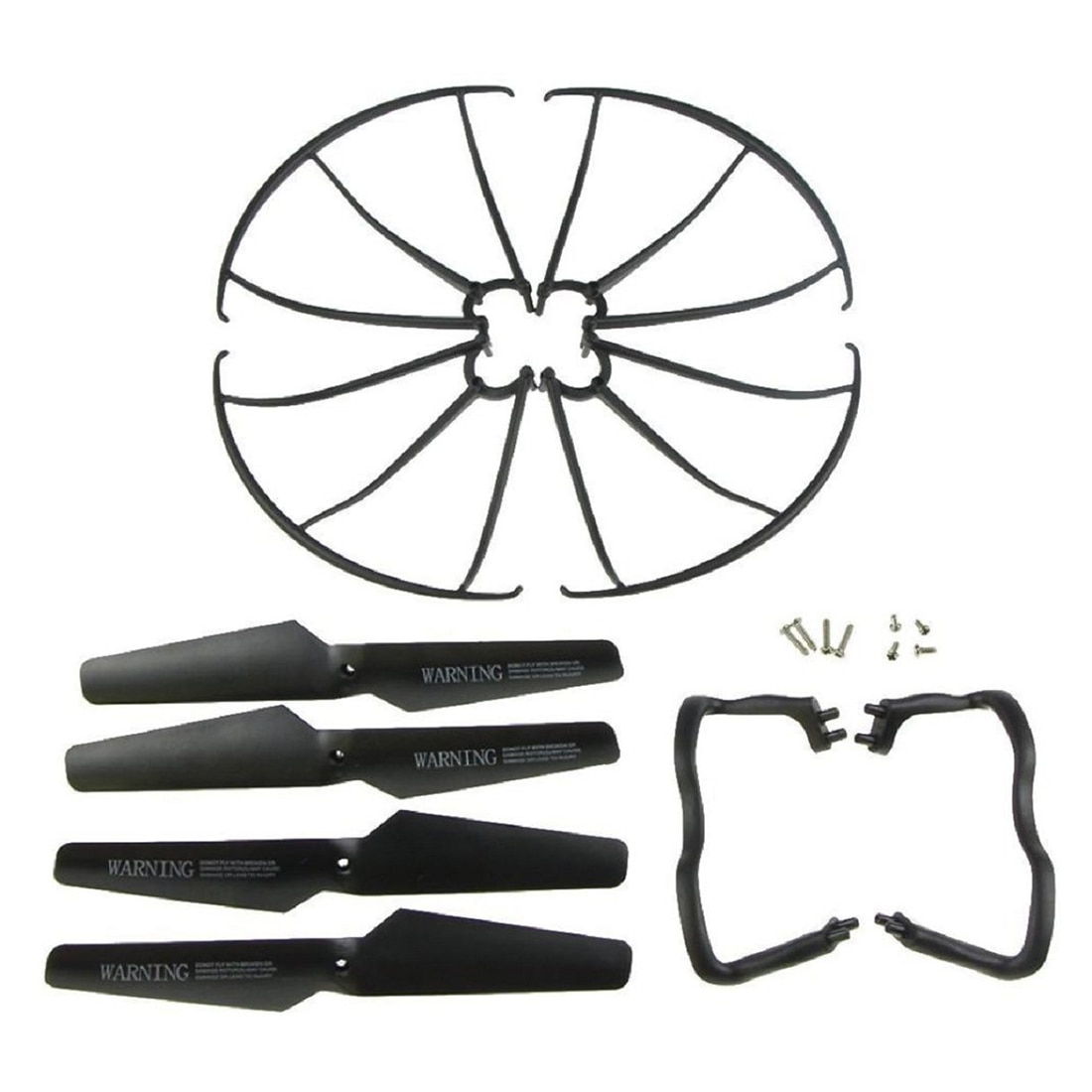 Pack de 5 patines de aterrizaje Syma X5 X5C X5C-1 + hélice de hoja + protectores de hélice juego de repuesto negro