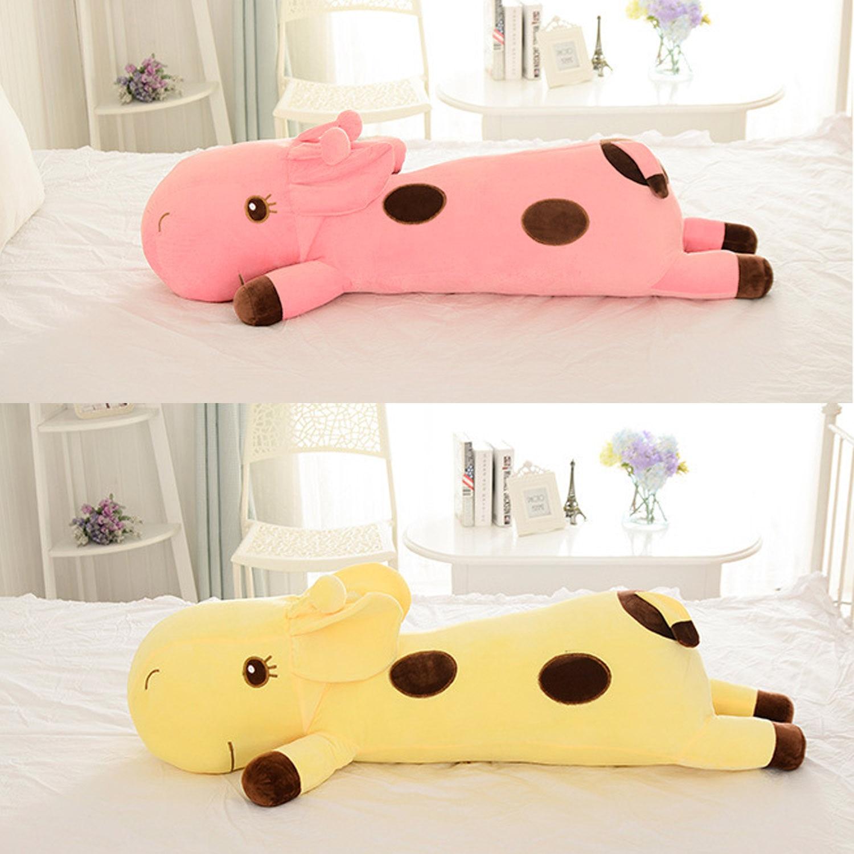 Almohada de peluche de jirafa tumbona de 60cm, cojín de venado suave para dormir, almohada para dormir de muñeca, cojín de peluche