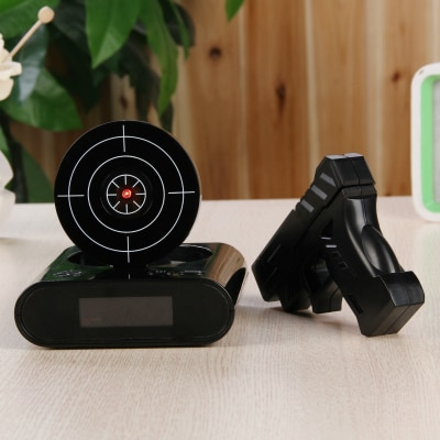 1 Juego de despertador de pistola, reloj despertador, pistola en punto/bloqueo N carga alarma de tiro al blanco, reloj de Oficina gadgets