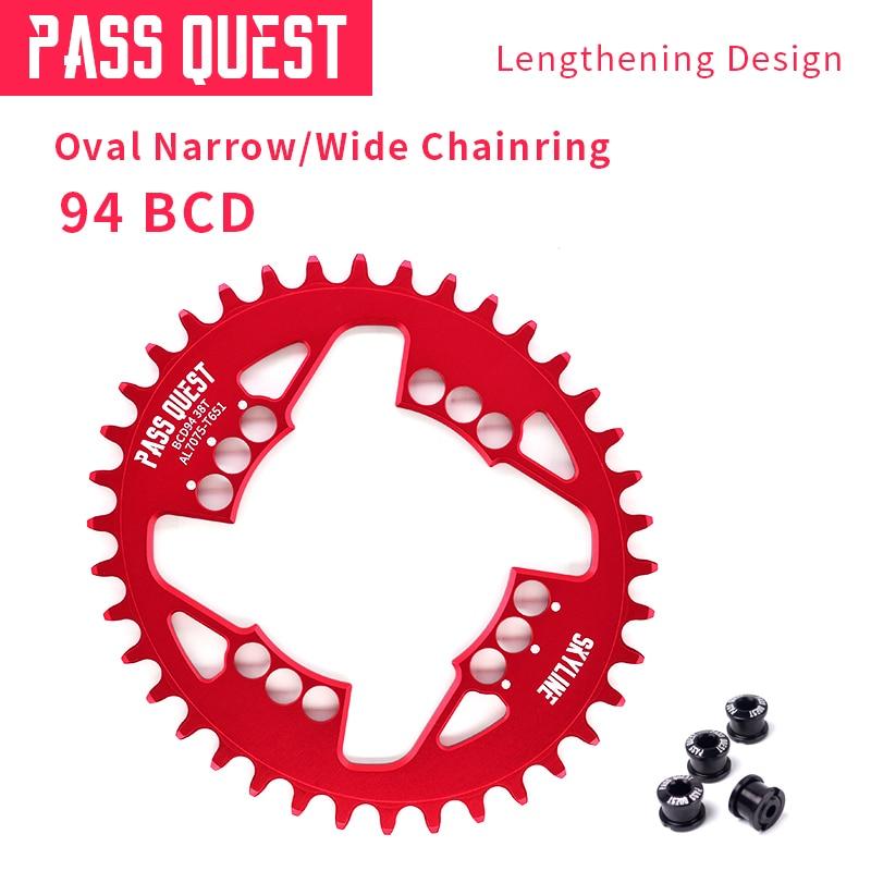 Anillo de cadena BCD de 94mm de Diseño ancho estrecho, rueda de cadena 7076-T651, aleación de aluminio 32-38 T, cadena de bicicleta de montaña MTB BMX