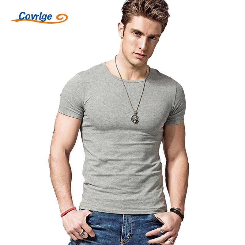Covrlge 2019 Hot Summer Men T-shirts Solid Color Slim Fit Short Sleeve T Shirt Mens New O-neck Tops TShirt Brand Clothing MTS291 covrlge 2019 t shirt men short sleeve solid tshirt mens fashion slim fit t shirts casual o neck tshirts fitness clothing mts2911