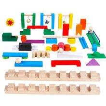 Domino en bois Institution accessoires jouet pour enfants bois Dominos jeu blocs de construction briques jouets éducatifs Dominos cadeaux
