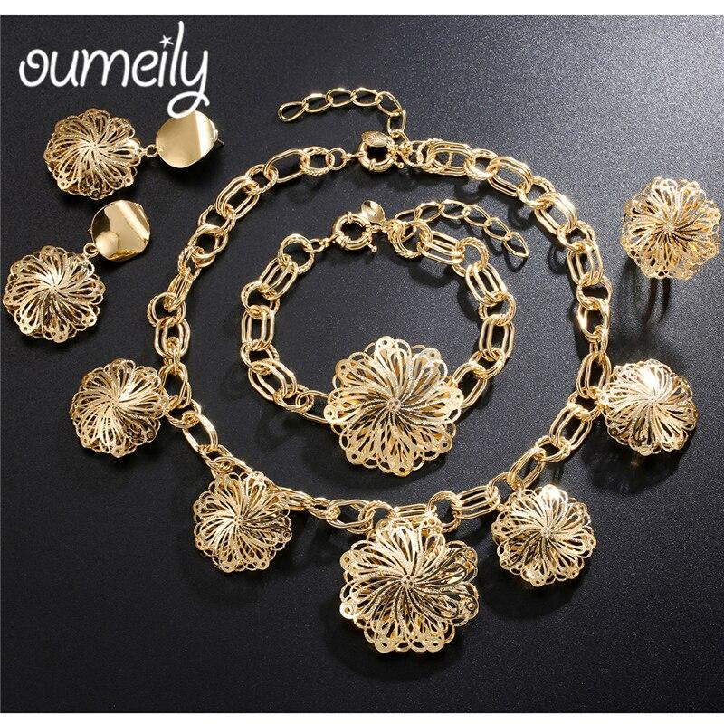 Conjunto de joyas turcas OUMEILY para mujer, Color dorado, Dubai, cuentas africanas, traje de novia indio para boda, Conjunto de joyas de flores