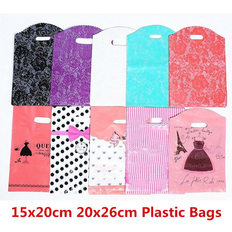 10 Uds 15x20cm 20x26cm bolsa de regalo de almacenamiento bolsas de plástico impresas de plástico con asas ropa supermercado Paquete de compras bolsa de boda