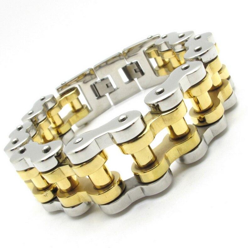 Venda por atacado 22mm enorme pesado cor de prata cor ouro motorbiker corrente pulseira pulseira de aço inoxidável jóias ouro fornecedor