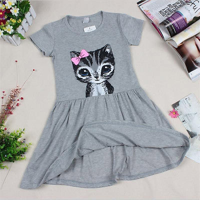 Lindo gato verano bebé Infante niñas princesa vestido fiesta niños tul tutú vestido bebé niña