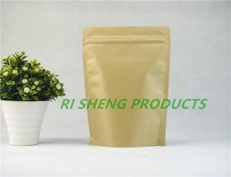 100 pces resealable zíper kraft sacos de papel 14x20cm levantam-se folha de papel zip lock saco de alimentos sementes de café bolsa de armazenamento de casamento