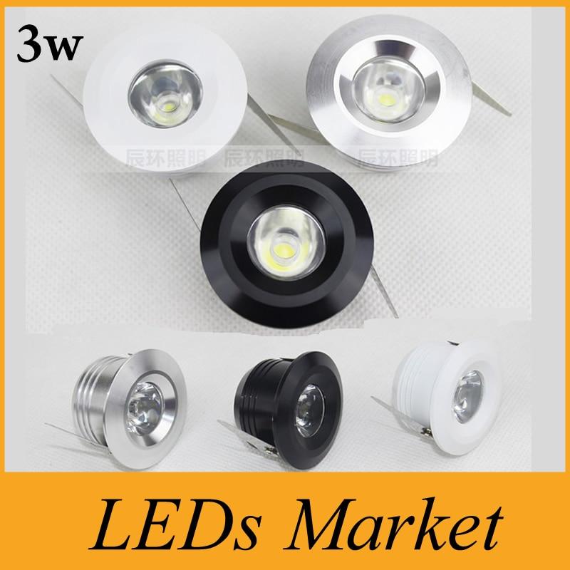 3W Mini LED downlight regulable blanco redondo techo spot luces 110V 220V empotrado aluminio lámpara blanco cálido 3000k CRI 85 CE UL