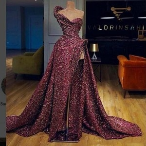 High Quality De Gala Full Sequins Evening Dress Long Dresses Evening Online Parties Ruffles Sexy Pageant Dresses robe de soiree