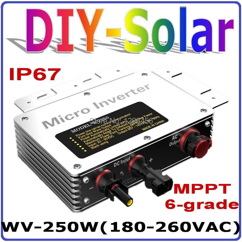 2017 novo 250 w 22-50vdc 80-160 v/180-260vac dc para ac grid tie micro inversor, grande tensão mppt onda senoidal pura micro inversor