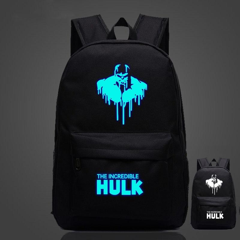 Avengers Hulk Mens Backpack Luminous Printing Large Capacity Travel Rucksack Teenagers Schoolbag Wholesale