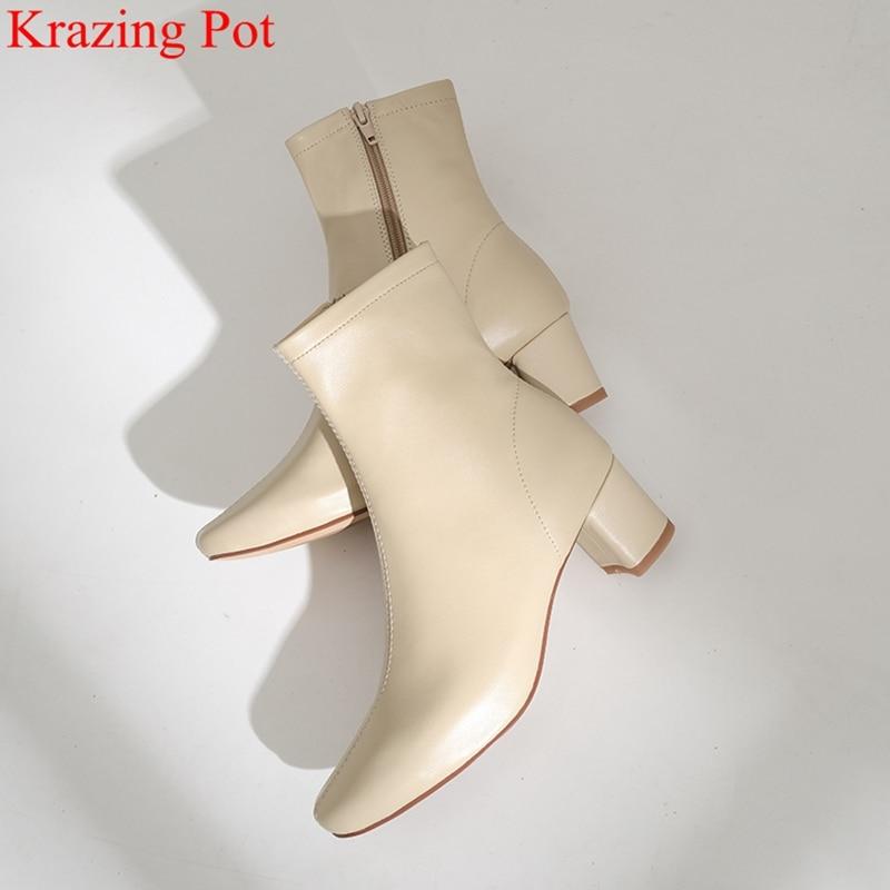 Superstar couro genuíno zíper dedo do pé quadrado salto alto botas de tornozelo feminino pista clássicos botas de moda elegantes sapatos de inverno l50