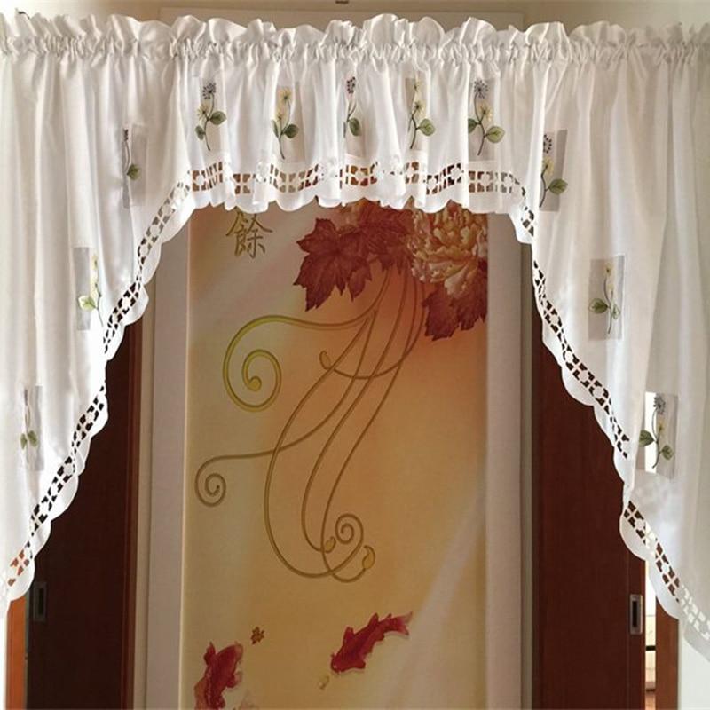Простая кухонная занавеска, стильные короткие занавески с дизайном «кафе» для кухни, занавески для дверей, занавески с вышивкой, вуаль, окон...