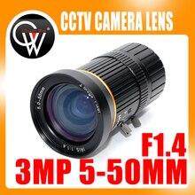Caméra de vidéosurveillance HD varifocale 3.0 mégapixels   Objectif CS 5-50mm monté avec iris manuel F1.4 pour lindustrie, caméra IP CCTV