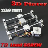 3D Printer guide rail sets T8 Lead screw length 100mm + linear shaft 8*100mm+KP08 SK8 SC8UU+ nut housing +coupling + step motor