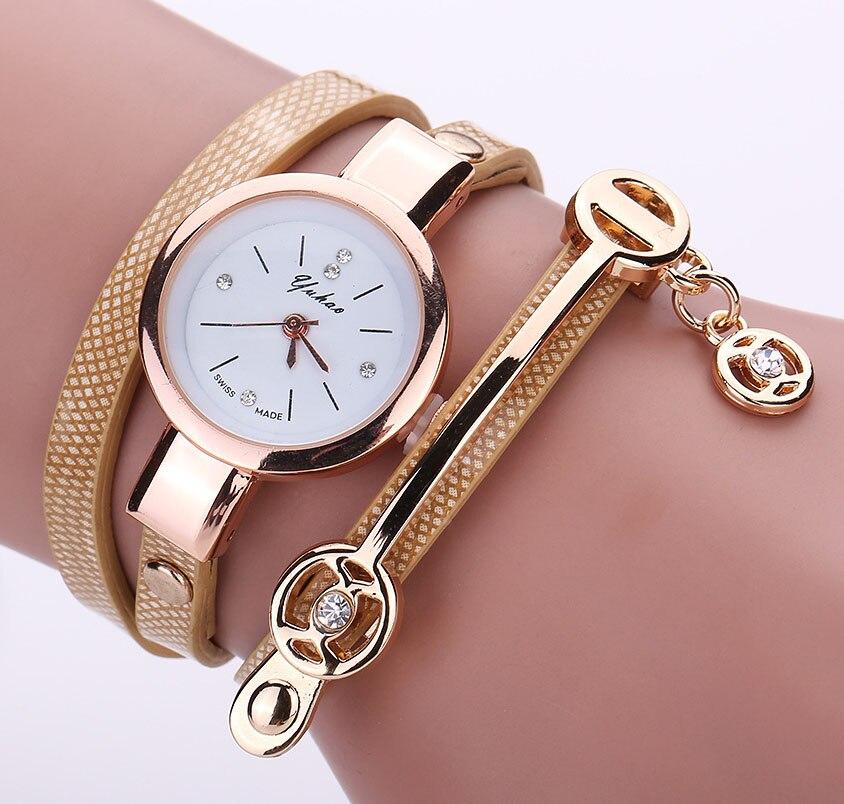 Hot Luxury Leather Quartz Watch Women Ladies Crystal Fashion Bracelet  Metal Strap Wrist Watch Clock