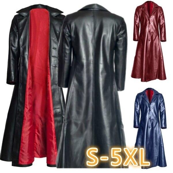 Мужское кожаное пальто с длинным рукавом, Черное длинное пальто с отворотом в стиле «панк», Goth Vampire